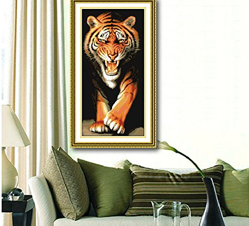 Large Size Tiger Counted Cross Stitch Precision Printing for Bedroom Living Room Decoration Gift Idea