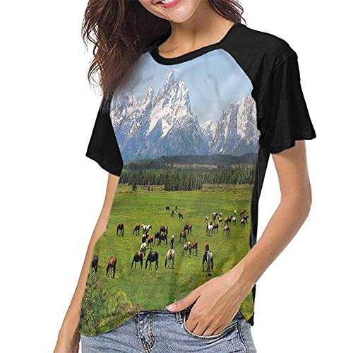 (T Shirt Print Girls Tee,Horse,Grand Teton National Park S-XXL(This is for Size Large),Women Casual Girl Tops)