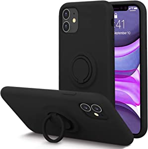KUMEEK for iPhone 11 Case Fingerprint | Kickstand | Anti-Scratch | Microfiber Liner Shock Absorption Gel Rubber Full Body Protection Liquid Silicone Case for iPhone 11-Black