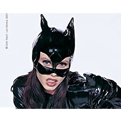 Leg Avenue Women's Vinyl Cat Woman Mask Costume Accessory, Black, One Size