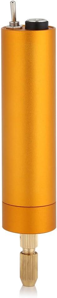 Gold Taladros de Brocas Portable Mini Taladro El/éctrico Herramienta de Pulido de Talla de Pulido Recargable USB con Aleaci/ón de Aluminio y Portabrocas de Lat/ón