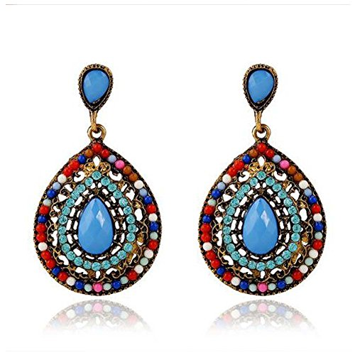 [Christmas GERGER BO Women's Palace Retro Bohemian Droplets Earrings(Multicolor)] (Scrabble Fancy Dress Costume)