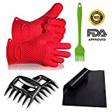 BBQ Grilling Tool Set - BBQ Gloves & Meat Claws & Silicone Basting Brush & Non-Stick Mats Complete Set, Flykul Silicone Heat Resistant Grilling Accessories & Kitchen Tools for Indoor & Outdoor Cooking