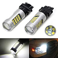 iJDMTOY (2) HID Matching 6000K White 42-SMD 3157 3357 3457 4114 LED Bulbs For Daytime Running Lights, DRL (For Buick Chevrolet Chrysler Dodge GMC Jeep Ford Toyota, etc)