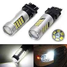 iJDMTOY (2) HID Matching 6000K White 33-SMD 3157 3357 3457 4114 LED Bulbs For Daytime Running Lights, DRL (For Buick Chevrolet Chrysler Dodge GMC Jeep Ford Toyota, etc)