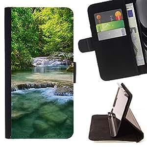 For Samsung Galaxy A3 Case , Naturaleza Beautiful Waterfalls- la tarjeta de Crédito Slots PU Funda de cuero Monedero caso cubierta de piel