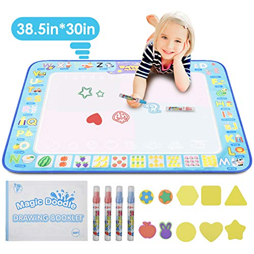 "Price comparison product image KATUMO Water Doodle Mat,  Extra Large Water Drawing Mat Kids Magic Doodle Board Painting Writing Pad Educational Toy Gift for Kids / Toddlers Learning Painting Coloring,  Age 3+,  38.5"" 30"" in 4 Colors"