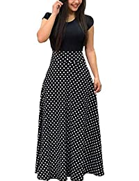 2020 Women's Short Sleeve Printed Casual Round Neck Floral Loose Maxi Dresses with Pockets