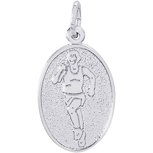 Rembrandt Charms 14K White Gold Runner Charm (0.78 x 0.52 inches) (Charm Gold Runner 14k)