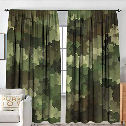 """Blackout Curtains Camo,Frosted Glass Effect Hexagonal Abstract Being Invisible Woodland Print,Green Pale Green and Brown,Rod Pocket Curtain Panels for Bedroom & Kitchen 60""""x84"""""""