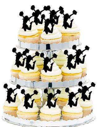Cheerleader Picks Cake Toppers for Cakes and Cupcakes/Food Decoration 12 count -