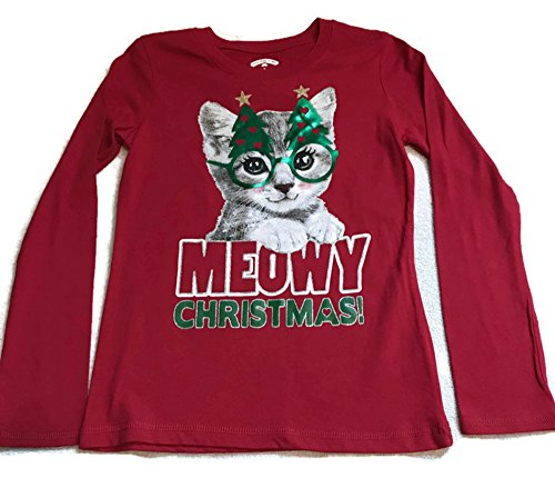 Girls Christmas Shirts, Long Sleeve Holiday Graphic Tshirts With Glitter Accents (Meowy Cat, Lg 10/12) (Glitter Graphics Christmas)