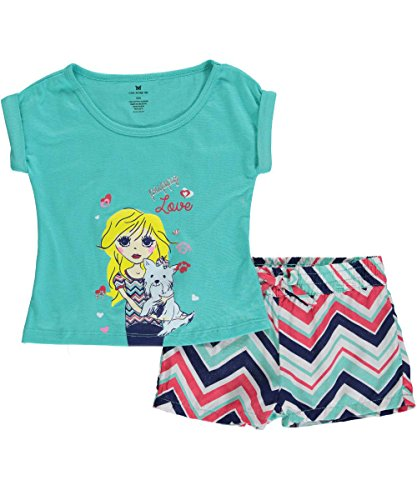 """One Step Up Little Girls' Toddler """"Zigzag Pup"""" 2-Piece Outfit - jade green, 3t"""