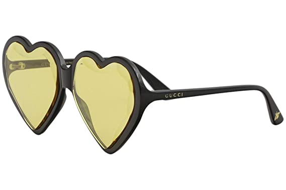 d319238f694 Image Unavailable. Image not available for. Color  Gucci GG0360S 002 Heart  Black Plastic Round Sunglasses Yellow Lens