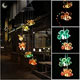 HOPESOOKY Color-Changing Bee Wind Chimes, Led Solar Powered Outdoor Decor Mobile Waterproof Magic Windchime For Garden, Porch, Patio, Yard, Party Decoration