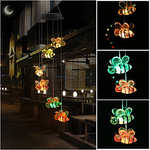 KUAHAIHINTERAL Wind Chime, HOPESOOKY Color-Changing Outdoor Waterproof Led Solar Powered Wind Chimes for Home/Party / Yard/Garden Decoration (Hummingbird) (Bee Wind Chime)