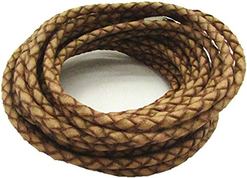 5.0mm Leather Cord Round Braided Leather Cord Leather Working Cord String Cord 5Meter (Natural)