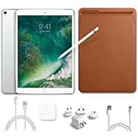 2017 New IPad Pro Bundle (5 Items): Apple 10.5 inch iPad Pro with Wi-Fi 512 GB Silver, Leather Sleeve Saddle Brown, Apple Pencil, Mytrix USB Apple Lightning Cable and All-in-One Travel Charger