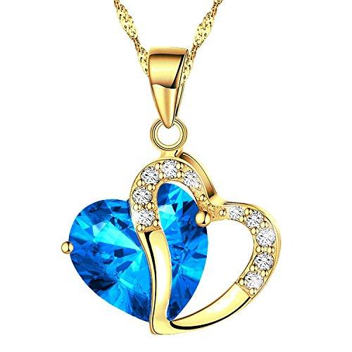 Sinlifu Fashion Austrian Crystals Yellow Gold Double Heart Shape Pendant Necklace (Lake (Fancy Shape Diamond Necklace)