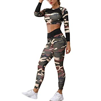 Amazon.com: Womens 2 Piece Sports Outfits Camo Short Sleeve ...