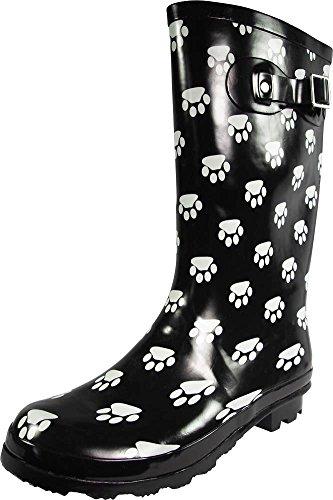 NORTY - Womens Hurricane Wellie Gloss Mid-Calf Paw Printed Rain Boot, Black, White 39203-9B(M) US