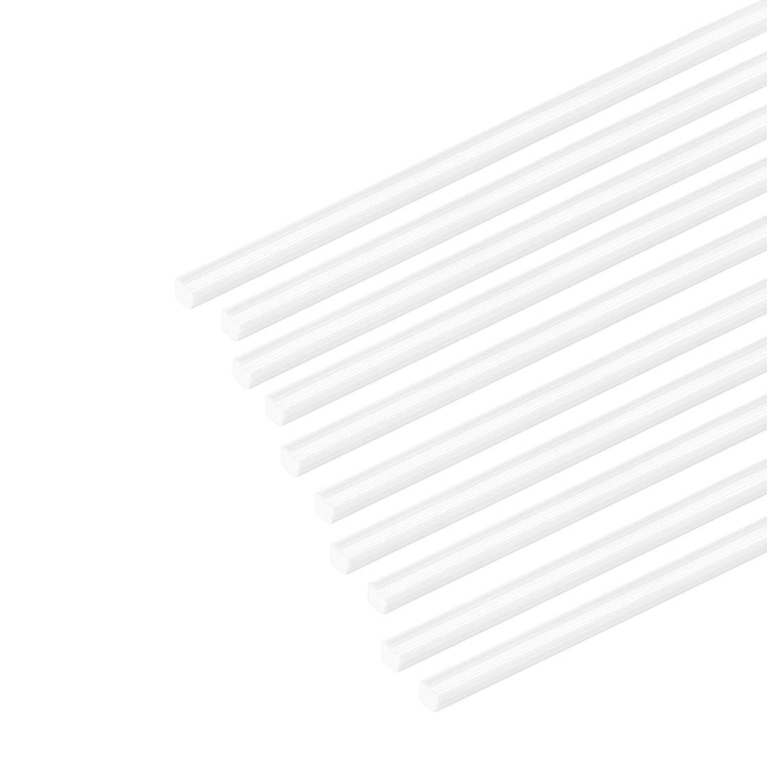 sourcing map 5pcs 0.5mm/×0.5mm/×20 ABS Plastic Bars Rod Square Shape for Architectural Model Making DIY,White