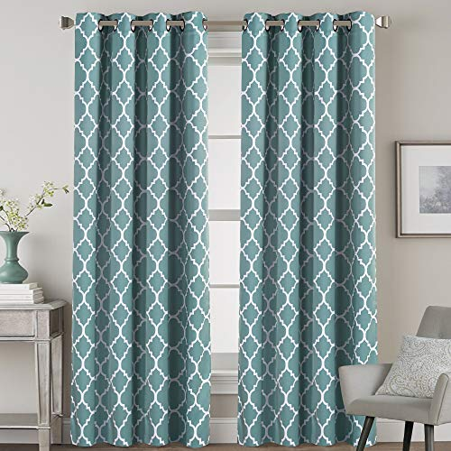Blackout Curtains 96 inches Long Thermal Insulated Energy Efficient Noise Reducing Drapes Privacy Protection Grommet Curtains for Kids Room - Set of 2 - Beautiful Quatrefoil Smoke Blue Pattern ()