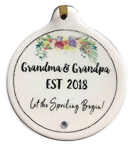 Laurie G Creations EST 2018 Grandma & Grandpa Porcelain Ornament Let the Spoiling -
