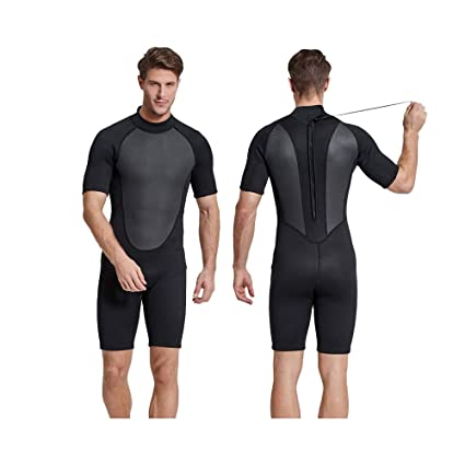 300a7f645 Sbart 2mm Mens Short Wetsuit Black Thermal One-Piece Fullbody Short Sleeve  Diving Suit for