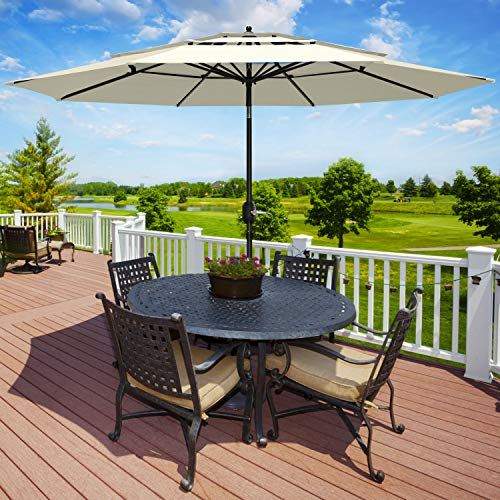 Patiassy 3 Tier Triple Top 11 Feet Air Vented with Tilt Patio Outdoor Umbrella for Table Market, Beige (With Outdoor Umbrella Table)