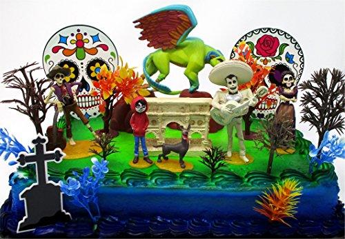 - COCO 28 Piece Birthday Cake Topper Set Featuring Miguel and Friends and Decorative Themed Accessories