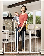 Regalo Easy Open Extra Wide 47 Inch Baby Gate, Includes 4-Inch and 12-Inch Extension Kit, 4 Pack Pressure Mount Kit and Wall Mount Kit