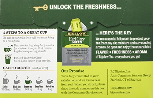 Bigelow Earl Grey Green Tea, 20 Bags (Pack of 6), Premium Green Tea with Oil of Bergamot, Antioxidant-Rich All-Natural Gluten-Free Medium-Caffeine Tea in Foil-Wrapped Bags by Bigelow Tea (Image #4)