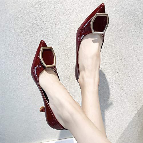 metalliche e sexy Scarpe Shoesthirty donna Rosso sottili sottili con Scarpe alto Single Novità da Sixwine Scarpe Sharp con MLGSDW tacco fibbie Donna Shoes qTAxwzn67