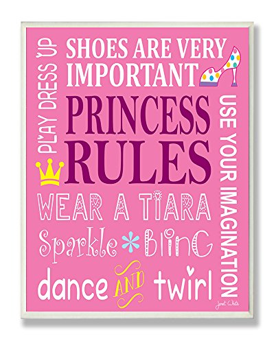 Little Princess Wall Plaque - The Kids Room by Stupell Princess Rules Dance And Twirl Rectangle Wall Plaque, 11 x 0.5 x 15, Proudly Made in USA