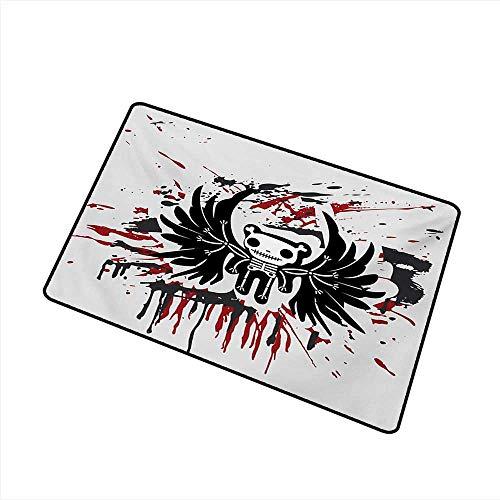 Welcome Door mat Halloween Teddy Bones with Skull Face and Wings Dead Humor Funny Comic Terror Design W35 xL59 Machine wash/Non-Slip