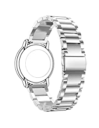 Replacement 3 Beads Stainless Steel Bands for Pebble Time Smartwatch (Silver)