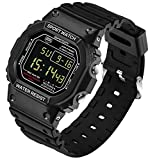 Digital LED Back Light Screen Stopwatch Date and Day Sport Watch Youth Casual Couple Watches Boys Black
