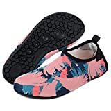 Cheap Yidomto Water Shoes, Quick-Dry Barefoot Socks for Mens Womens Kids on Beach Pool Swim and Yoga(Pink-flower/S/38/39)