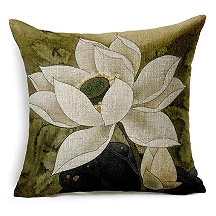 Amazon.com: Vintage Style Decorative Throw Pillows Lotus ...