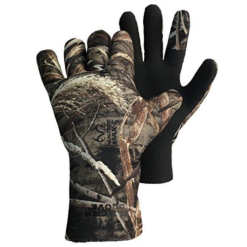 Lined Neoprene Gloves (Glacier Glove Aleutian Full-Fingered Neoprene Fleece Lined Glove (Max 5, Large))