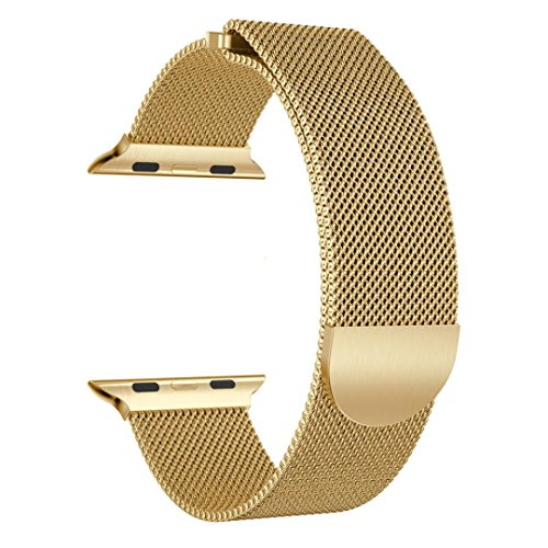 Kanzd Milanese Stainless Steel Magnetic Watch Band For Apple Watch Series 3 38MM (Gold)