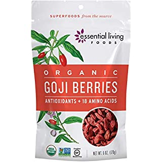 Essential Living Foods Organic Goji Berries, Dried, Highest Quality, Responsibly Grown Wolfberry, Vegan, Superfood, Non-GMO, Gluten Free, 6 Ounce Resealable Bag