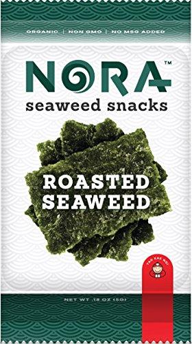 NORA Roasted Seaweed Sea Salt- Premium Seaweed Snacks (12 count, 5g pack)