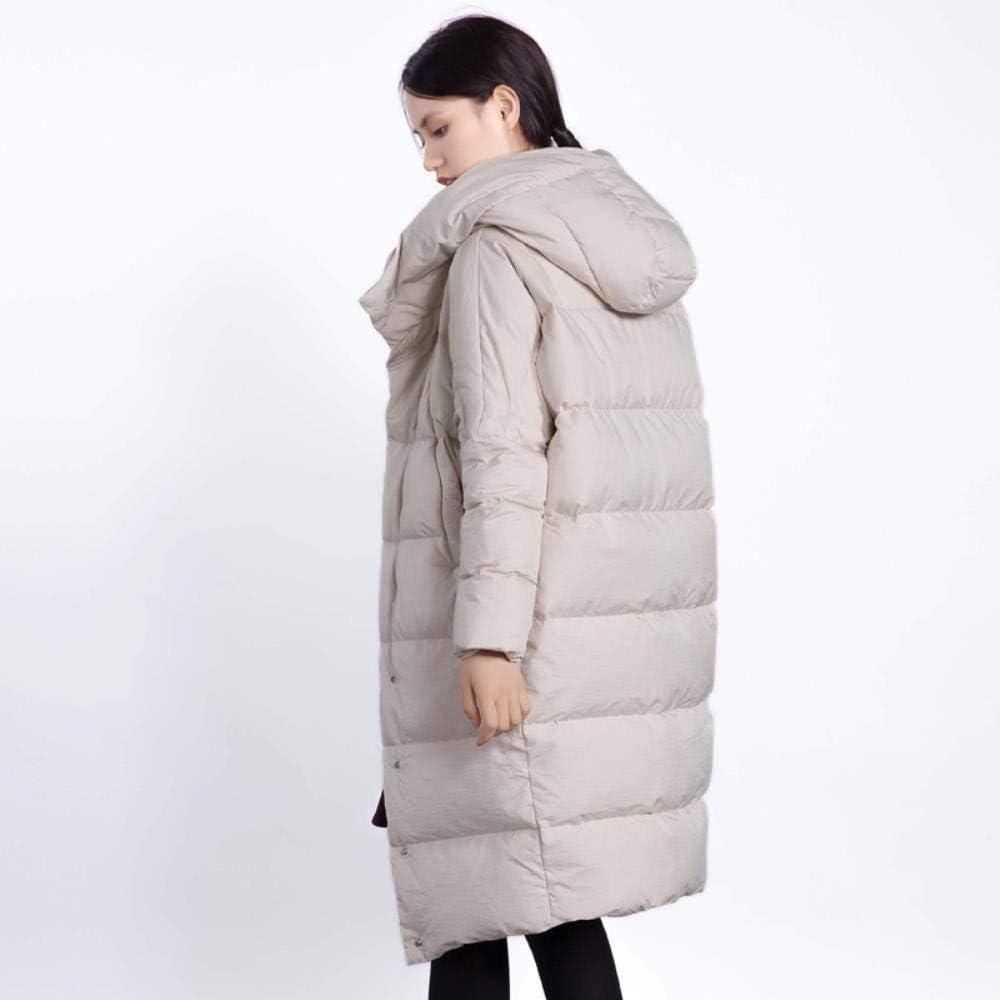 A-gavvzq Automne et Hiver Manteau Couleur Unie Longue Section épaisse Veste à Capuchon Femme Manteau Coupe-Vent Manteau lâche 1