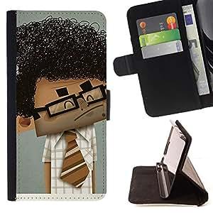 BullDog Case - FOR/LG G2 D800 / - / GEEK SCIENTIST BOY MAN CURLY BLACK HAIR ART /- Monedero de cuero de la PU Llevar cubierta de la caja con el ID Credit Card Slots Flip funda de cuer