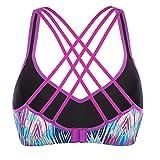 V FOR CITY Womens Sports Bra Light Impact Crisscross Back Padded Wireless Workout Activewear Running Yoga Bra L Purple For Sale
