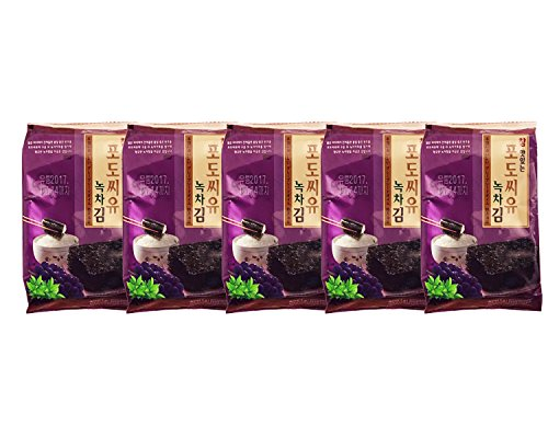 Korean Premium Roasted and Lightly Sea Salted Seasoned Green Tea and Grape Seed Oil Seaweed Individual Snack 4g (5 Pack) by All About Living (Image #2)