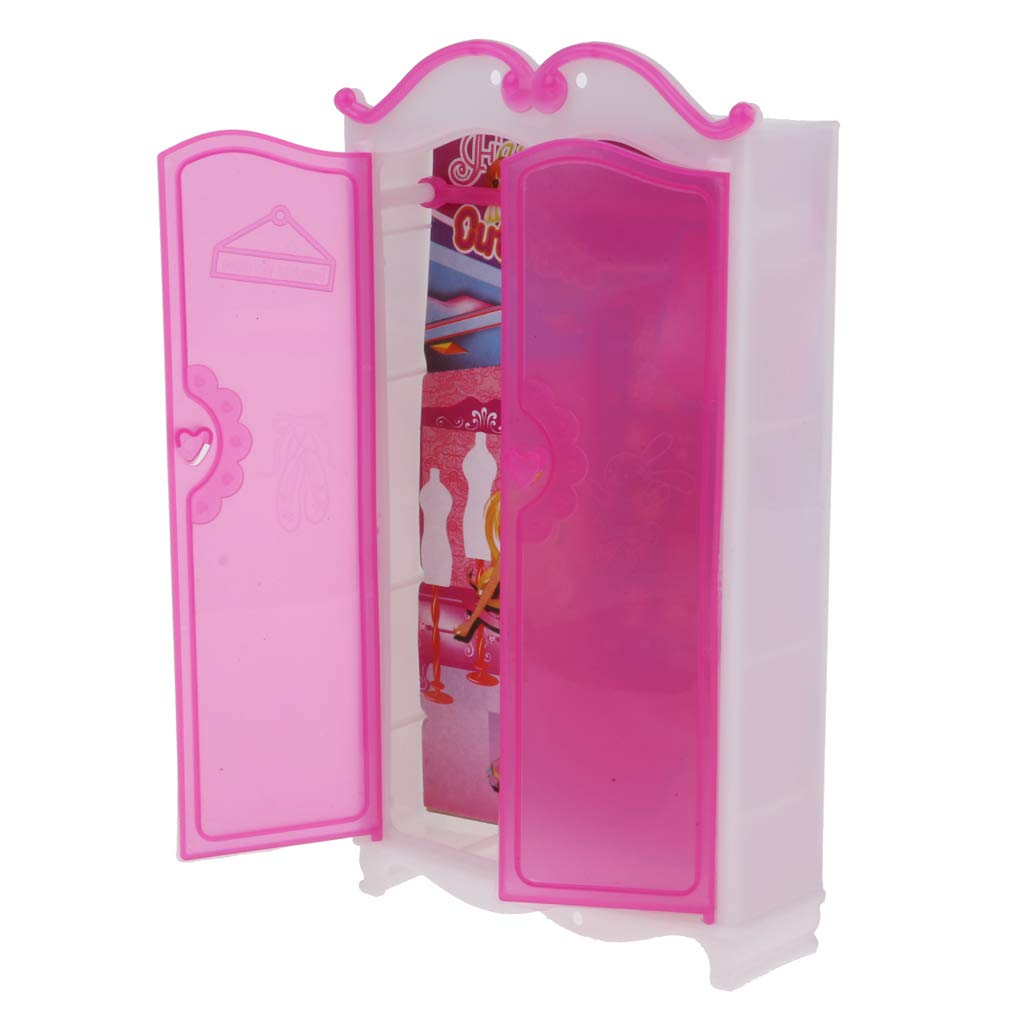 Pink Closet Wardrobe Miniature Furniture For Doll Girls Toy Princess Bedroom