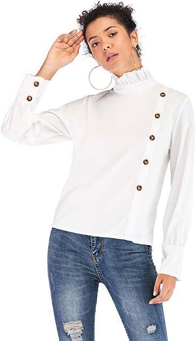 Theshy Camisa con Botones De Mujer Camisa De Manga Larga Blusa De Cuello Alto Tops: Amazon.es: Ropa y accesorios